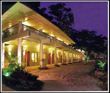 Camayan beach resort night facade